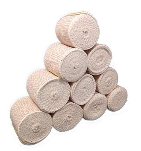 Elastic Bandage Wrap with Self-Closure [Pack of 10] 2 Inch Comfort Athletic Compression Roll, 5 Yards Stretched for Customized Compression on Knee, Ankle, Wrist - Plus a Vakly First Aid Kit Guide