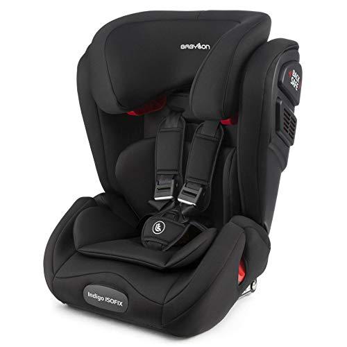 BABYLON Babysitz Auto Indigo Isofix Autokindersitz Gruppe 1/2/3, Kindersitz 9-36 kg (1 bis 12 Jahren). Kindersitz mit Top Tether. Autositz Einstellbare Kopfstütze ECE R44/04 Schwarz