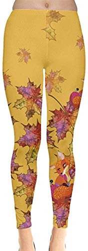 Sunny R Frauen Stretch Strumpfhose Woodland Animals Autumn Fox Thema und Käse Muster Leggings Yoga Sporthosen M