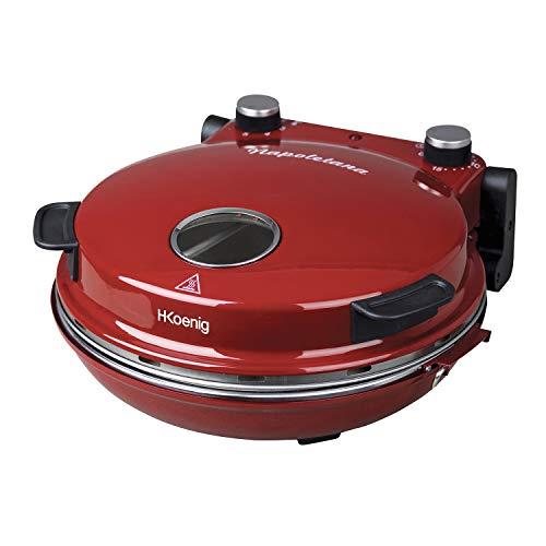 H.Koenig NAPL350 Forno per Pizza Napoletana, Temp max 350°, Piatto in ceramica diam 32 cm, Timer fino a 15min, 1200W, Rosso