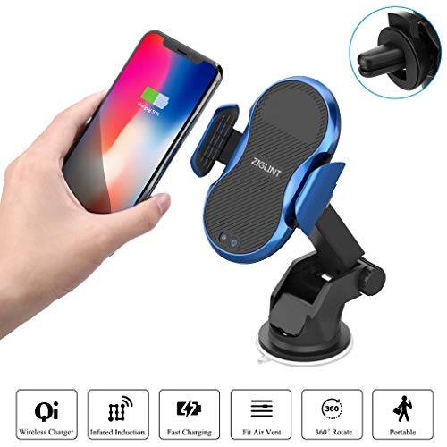 Zigling draadloze autolader, snelle Qi-mobiele telefoon oplader met autosensor 10/7.5/5 W, houder voor iPhone XR/X/8/8 Plus, Samsung Galaxy S9/S9+/S8/S7/S6 Edge +/Note 5, Xiaomi, Huawei