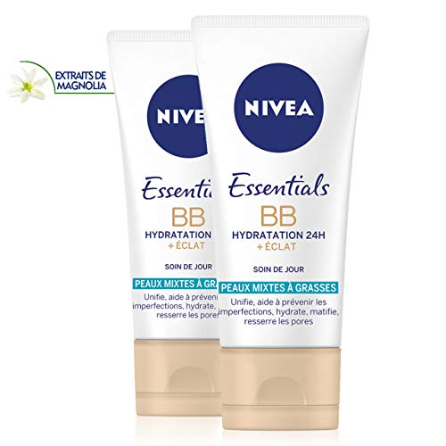 NIVEA Essentials BB Cream Hydratation 24H +Éclat (2 x 50 ml), Crème hydratante visage peaux mixtes à grasses, Soin femme à l'extrait de Magnolia, Soin de jour matifiant