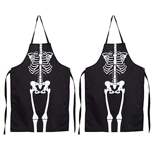 UPKOCH 2pcs Halloween Schürze Horror Skeleton Kostüm für Erwachsene Küche Kochen BBQ