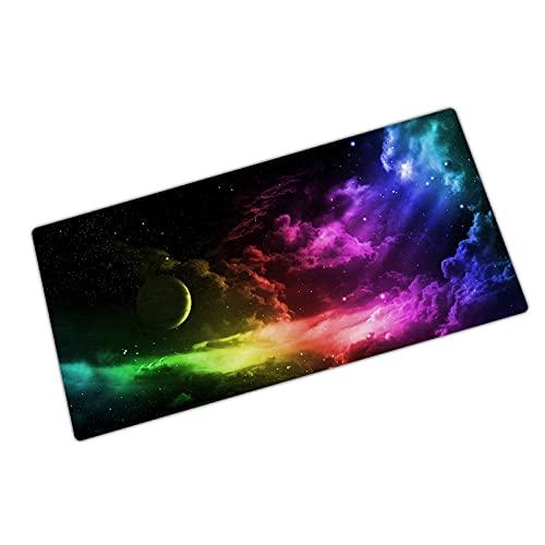 Tech Stor3 Tappetino XL colorato Gaming Mouse Pad, 80 x 30 cm, effetti luce con Base Antiscivolo in Gomma Naturale, Aderente e Liscio, Adatta ad Ogni Mouse, Tastiera e Laptop