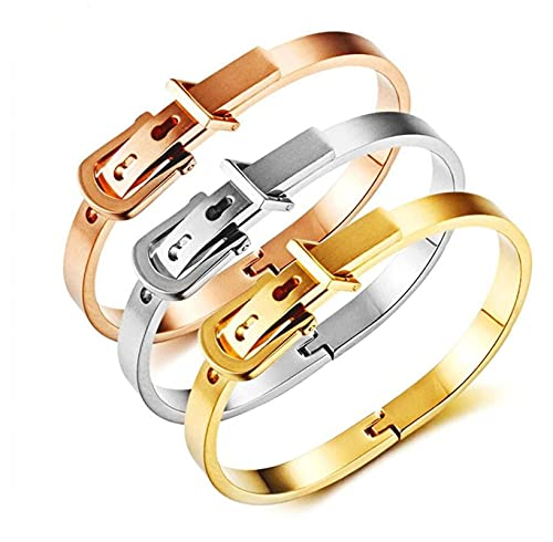 LSTGJ Brazalete De Hebilla De Cinturón para Hombres Mujeres 316L Pulseras De Acero Inoxidable Brazaletes (Metal Color : Rosegold 6mm)