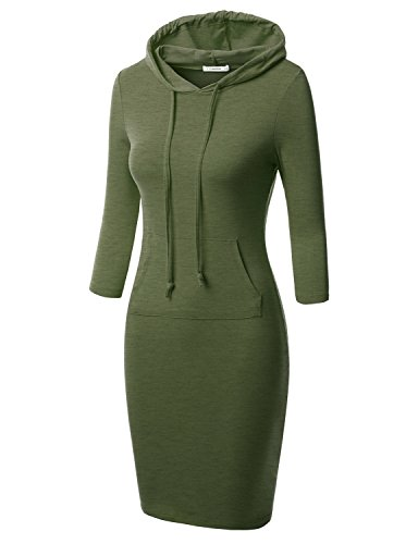 J.TOMSON Womens Bodycon 3/4 Raglan Sleeve Hoodie Dress with Kangaroo Pockets Olive M