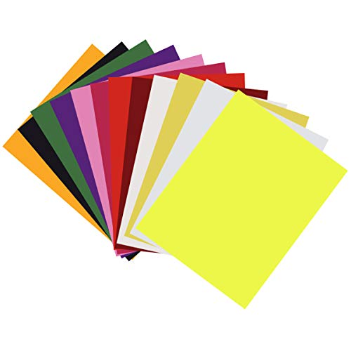 "Heat Transfer Vinyl HTV Bundle 12""x10""- 12 Pack of Assorted Colors Iron On T-Shirt Vinyl Transfer Sheets - Best HTV Vinyl for Silhouette Cameo, Cricut, Heat Press (12 Colors)"