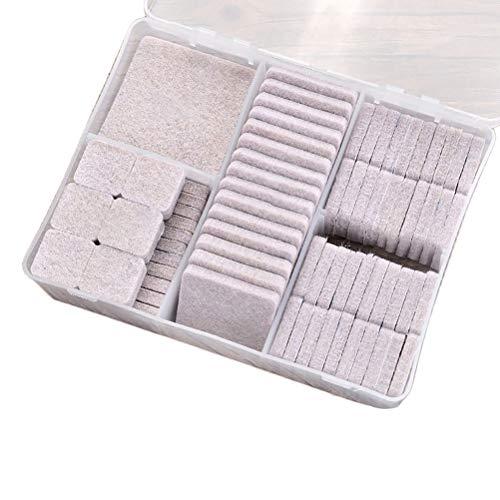 Macabolo Meubelpads, 100 pak zelfklevende vilten meubelpads anti-kras vloerbeschermers met 4 maten voor stoelpoten Vierkant.