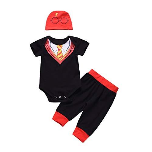 Puseky Trajes de caballero para bebés recién nacidos Traje Romper de manga corta + Pantalones + Sombrero Conjunto de ropa (Color : Black, Size : 3M-6M)