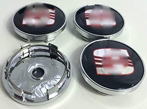 goodsmix 4 Piezas Tapas centrales para Llantas, para Seat, 56mm Neumáticos Tapacubos Modelado Accesorios de Decoracion