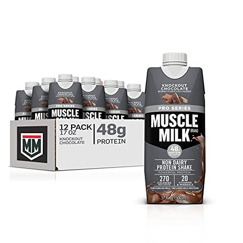 Muscle Milk Pro Series Protein Shake, Knockout Chocolate, 48g Protein, 17 Fl Oz (Pack of 12)