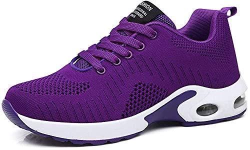 Zapatillas Deportivas de Mujer Air Cordones Zapatillas de Running Fitness Sneakers 4cm Púrpura-1 39