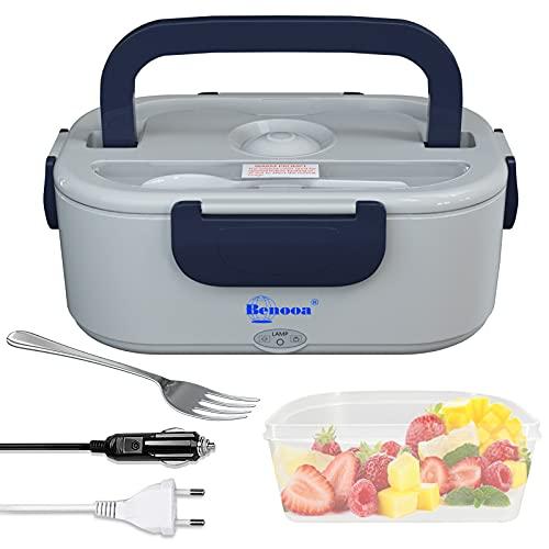 Benooa Boîte à Lunch Chauffante pour voiture & maison, Heating Lunch Box électrique de 1,5L, chauffe-aliments 2 en 1, Boîte à bento amovible en acier pour aliments 12V/220V avec fourchette et cuillère