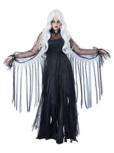 KULTFAKTOR GmbH Elegante Geisterfrau Halloween-Damenkostüm Gespenst schwarz XL (44/46)