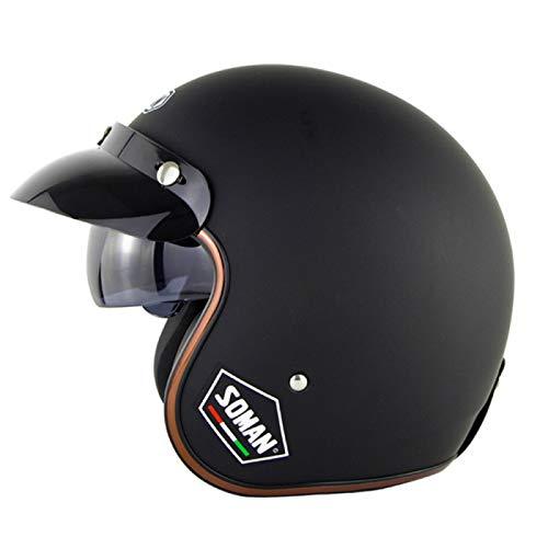 EBAYIN Cascos Half-Helmet Cascos Abierto Brain - Cap Retro Harley Motocicleta Dot ECE Cruiser Chopper Casco Scooter Casco Anticolisión Seguridad Liberación Rápida Hombres Mujeres,C-M=(57~58cm)