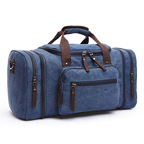 Big Canvas Duffle Bag Weekender Duffel Bag for Men Women Travel Overnight Carry on Bags - blue - 20.86x9.84x11.81
