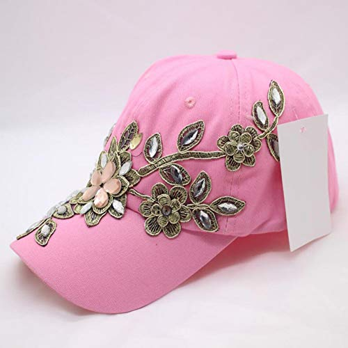 Shaoqingren Frauen Baseball Hüte Mädchen Diamant Blume Baseball Caps Dame Strass Jean Hüte Frühling Stickerei Lässige Hüte,Rosa
