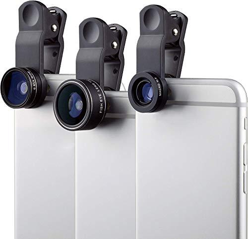 MyGadget Lenti Smartphone – Kit Obiettivo Universale 180° Fisheye + 0,65x Grandangolo + 10x Macro – per Fotocamera Cellulare e Tablet Come iPhone Samsung