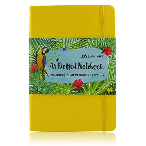 Lani Art Dotted Bullet Journal Notizbuch A5 Gepunktet, Hardcover Dot Grid Notebook, Premium Papier 120g/m², Kunstleder Notizbuch Punktkariert (Gelb)