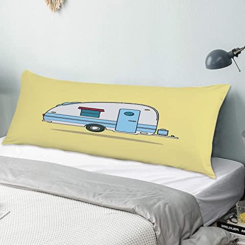 Personalizado Funda de Almohada Larga,Drive Red Old Vintage Camping Car Caravana Descanso Camper Auto Deportes Recreació,Funda de Almohada para el Cuerpo con Cremallera Sofá para Dormitorio,54' x 20'