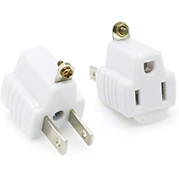 Sycon 3 Prong To 2 Prong Grounding Converter Adapter Plug For Wall Outlet 2 Pack Amazon Com