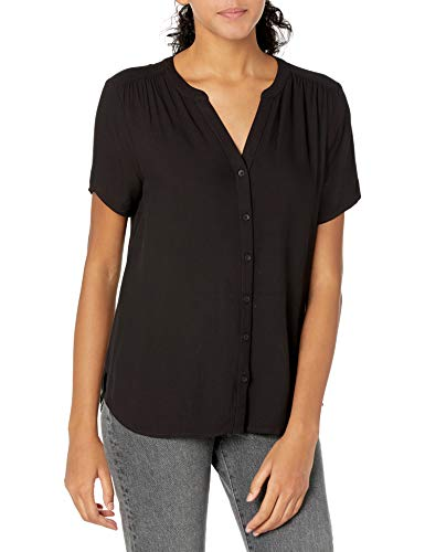 Amazon Essentials Women's Short-Sleeve Woven Blouse, Black, Medium