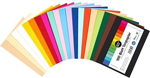 perfect ideaz 100 Blatt buntes DIN-A6 Ton-Papier, Ton-Zeichen-Papiere bunt, Set aus 20 Farben, bunte Blätter in 120g/m², Bastel-Bogen farbig, Zubehör zum Basteln, farbiges Material, DIY-Bedarf