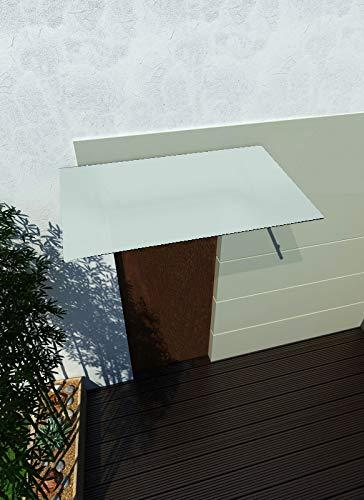 180 x 90 cm Glasvordach Milchglas Vordach Türvordach Türdach Haustür Satiniert Glas Edelstahl VSG