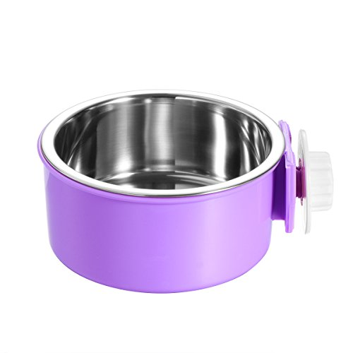 UEETEK Stainless Steel Pet Hanging Cage Dog Cat Birds Bowl Small Animal Food Water Bowl (Purple)
