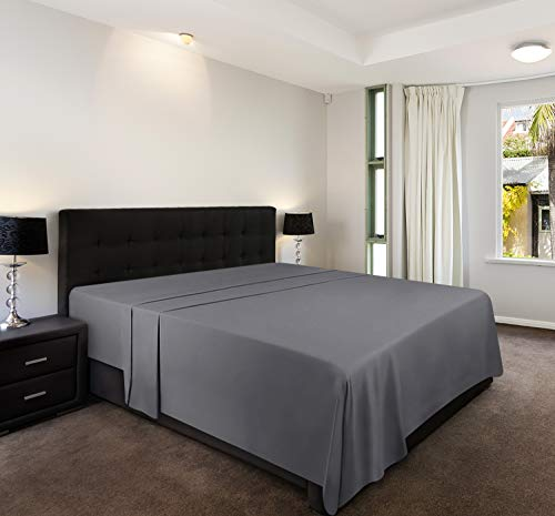 Utopia Bedding Drap Plat - 100% Microfibre Brossée - (Gris, Double - 225 x 255 cm)