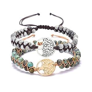 GOODCHANCEUK Yoga-Armband mit Baum des Lebens, handgefertigt, Naturstein-Armband, afrikanischer Türkis, geflochtenes Freundschaftsarmband für Frauen, mit Geschenk-Box