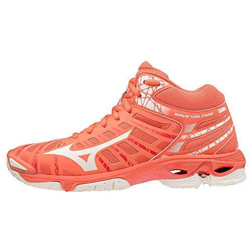 Mizuno Wave Voltage Mid (W), Chaussures de Volleyball Femme, Corail Blanc (Living Coral Snow White White), 37 EU