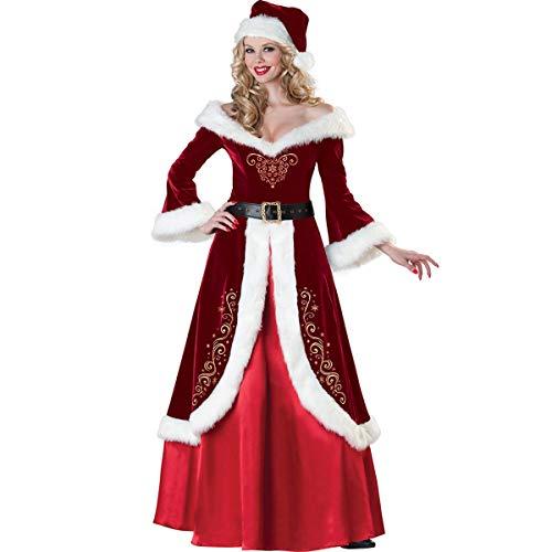 Dreamworldeu Damen Weihnachten Kostüm Mrs.Santa Claus Kleid mit Kapuze und Gürgel