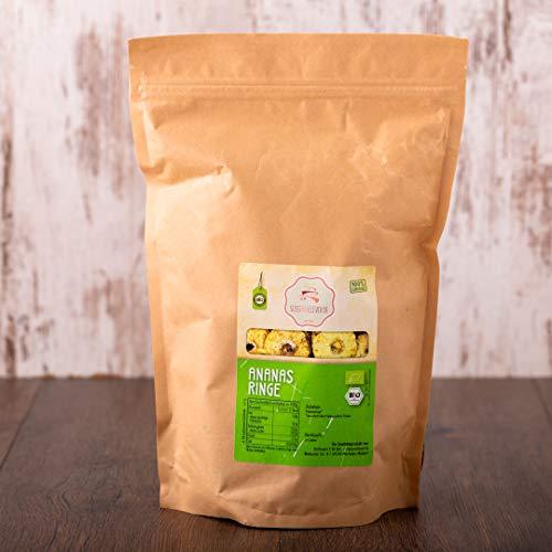süssundclever.de® Ananasringe Bio   500g   Rohkost   Premium Qualität: hochwertiges Naturprodukt   plastikfrei abgepackt in ökologisch-nachhaltiger Bio-Verpackung   Ananas (500.00)
