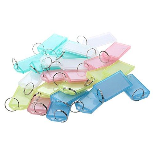 SODIAL 25 Pcs Multicolore Plastique Cle ID etiquettes avec anneau fendu porte-cles