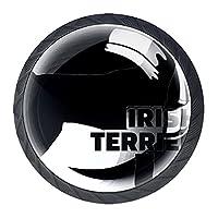 ドレッサーノブハードウェアラウンドノブ、取り付けネジ付きオフィスバスルームキッチンデコレーション用引き出しプル(4個)アイルランドのテリア