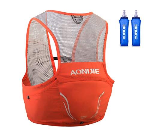 Aonijier - Mochila de hidratación para correr, 2,5 l, para senderismo, camping, escalada, con 2 unidades de 500 ml de vejiga de agua (rojo, M/L)