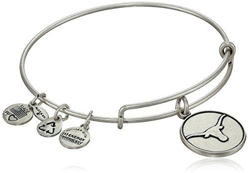 Alex and Ani 'Collegiate' University of Texas Logo Expandable Rafaelian Silver-Tone Wire Bangle Bracelet