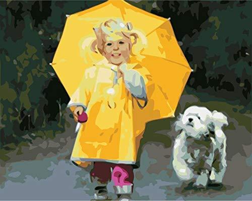 DIY olieverfschilderij door cijfers Kits Thema Digitale Schilderij Meisje en Hond Met een Gele Paraplu Canvas Gift voor Volwassenen Kinderen Verjaardag Bruiloft Nieuwe Accommodatie of Kerst Decoraties