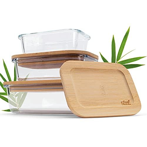 Ataxis Glas Aufbewahrungsboxen [3er Set] – Premium Frischhaltedosen mit Deckel aus nachhaltigem Bambus – Ordnungsboxen aus Glas – BPA Frei – Glasgefäß mit Deckel – Vorratsdose aus Glas (3er Set)