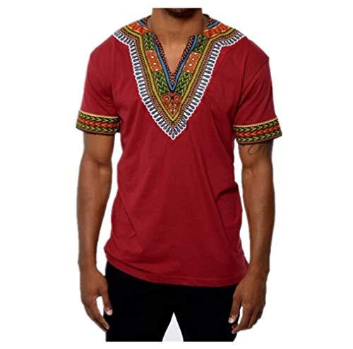 Rera Herren Afrikanisch T-Shirt Langarm Hemd Traditionelle Beiläufige Dashiki Shirt Tribal Hemd Bluse Tops (XL, Rot Kurzarm)