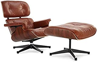Soho Modern Style Replica Lounge Chair and Ottoman - Antique Brown Leather, Premium Reproduction, Mid-Century Modern Furniture (Aniline)