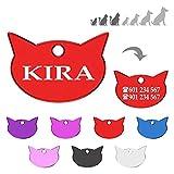 Iberiagifts - Placa en Forma de Cara de Gato para Gatos de Todas Las Edades Chapa Medalla de identificación Personalizada para Collar Perro Mascota grabada (Rojo)