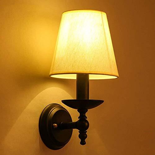 Woonkamer slaapkamer nachtwandlamp Moderne minimalistische creatieve ijzeren kaars tafelkleed stof enkele koplamp E14