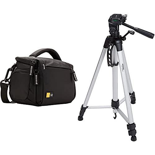 Case Logic TBC-405 - Bolsa para Cámara de Fotos y Vídeo, Negro + Amazon Basics - Trípode Ligero Completo (Bolsa,...