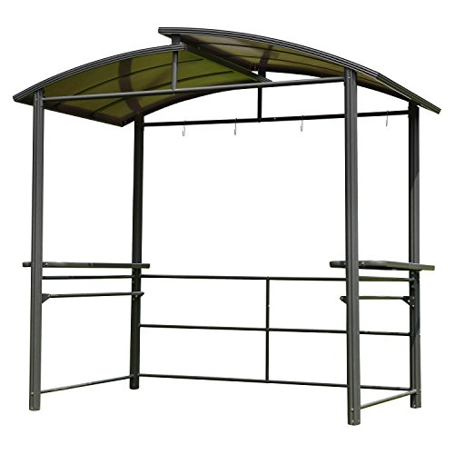 ALEKO GZBHTG01 Aluminum Frame Hardtop BBQ Gazebo Grill Shelter Canopy with Serving Tables 8 x 5 x 8 Feet Brown