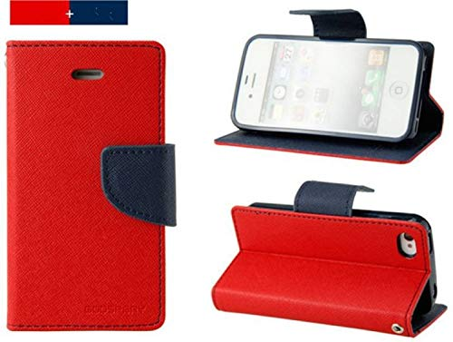 Clickfleek Apple iPhone 5s Stylish Luxury Mercury Magnetic Lock Diary Wallet Style Flip Cover Case for Apple iPhone 5s (Red)