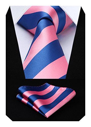 Hisdern HISDERN Herren Krawatte Gestreifte Hochzeit Krawatte & Einstecktuch Set (Pink Blau)