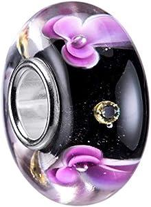 Materia 1248 - Cuentas de cristal de Murano, perlas y flores, color negro y violeta - plata 925