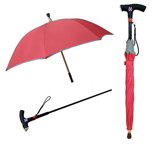 MOXIN Canne Parapluie Multifonctions Canne, béquilles, Parapluie Intelligent Peut être séparé, adapté pour Les Personnes âgées Anti-dérapantes, Hommes et Femmes,Pink